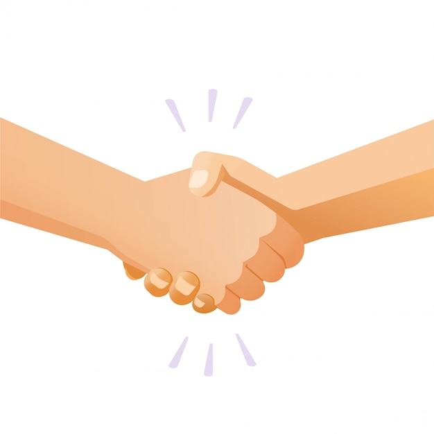 Shaking hands handshake vector or friends hand shake isolated gesture flat cartoon illustration modern clipart Premium Vector