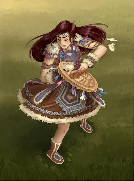 Shaman girl dancing with tambourine. postcard illustration Premium Vector