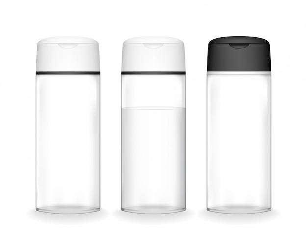 分離されたシャンプーボトル。液体、シャンプー、バスフォーム用の化粧品ボトル。美容製品パッケージ。 Premiumベクター