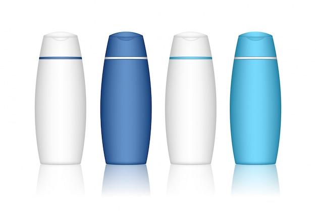 分離されたシャンプーボトル。液体、ローション、バスフォーム用の化粧品容器。美容製品パッケージ。 Premiumベクター