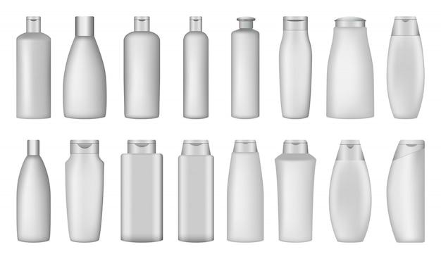 Shampoo bottle soap mockup set Premium Vector