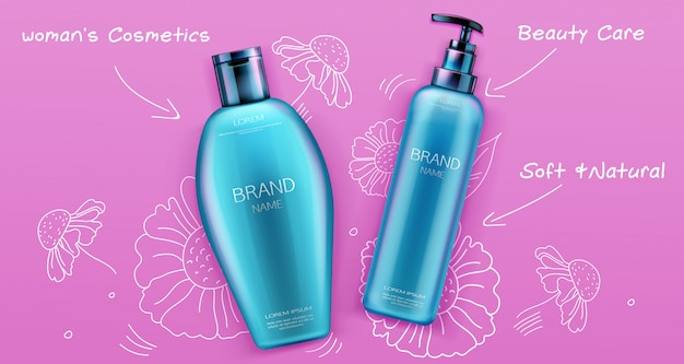 Shampoo and conditioner beauty cosmetics product for hair care on pink Free Vector