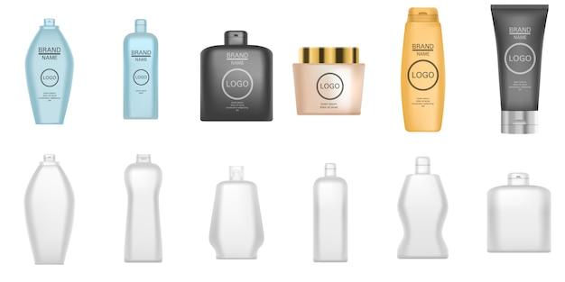 Набор иконок шампунь. реалистичный набор шампуня векторных иконок для веб-дизайна на белом фоне Premium векторы