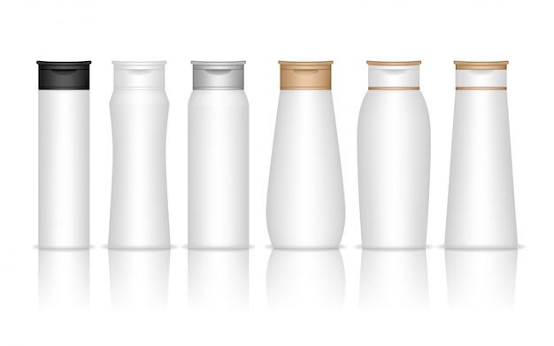 シャンプープラスチックボトルが分離されました。ジェル、ローション、クリーム、バスフォーム用の液体容器。美容製品パッケージ。 Premiumベクター