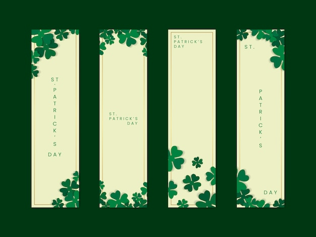 Shamrock st.patrick's day card set vector Free Vector