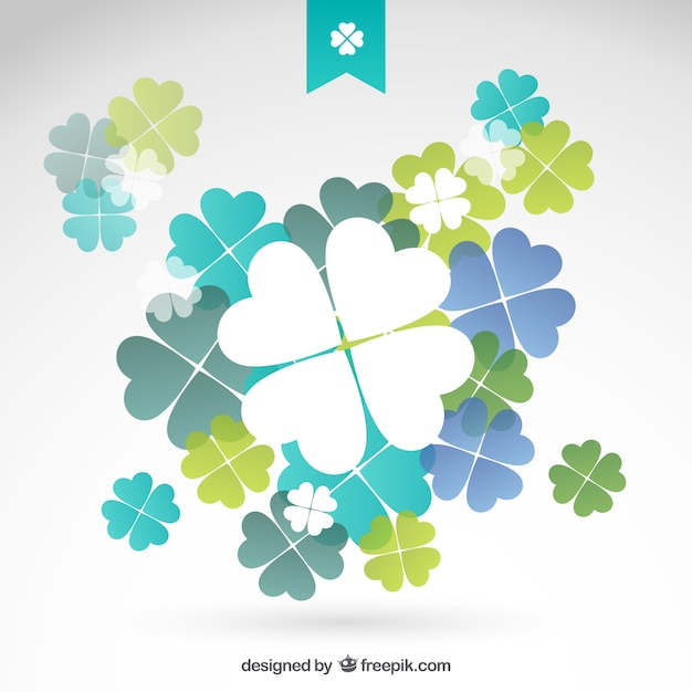Shamrocks in blue and green tones Free Vector