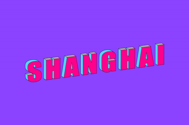 Shanghai text with 3d isometric effect Premium Vector
