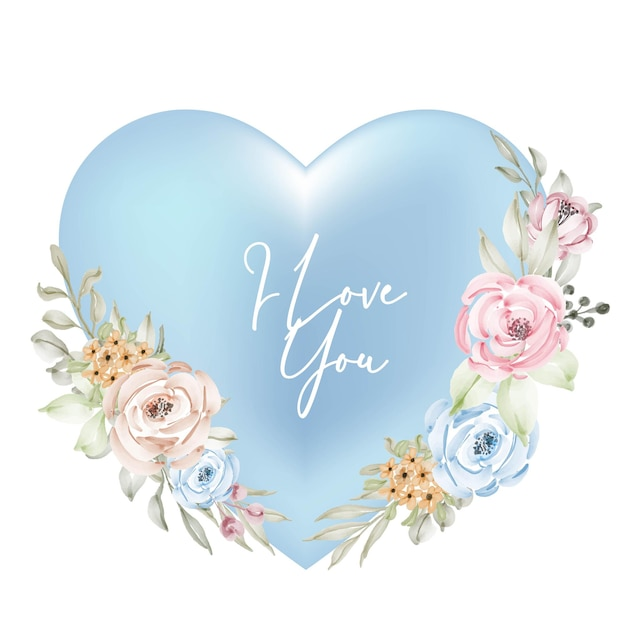Shape valentine blue cyan frame decoration with i love you word watercolor flower Free Vector