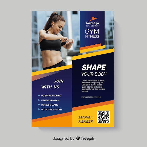 Shape your body sport flyer with photo Free Vector