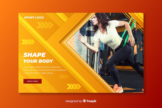 Shape your body sport landing page Free Vector