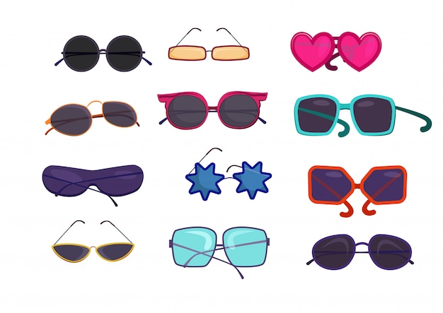Shaped colorful glasses set Free Vector