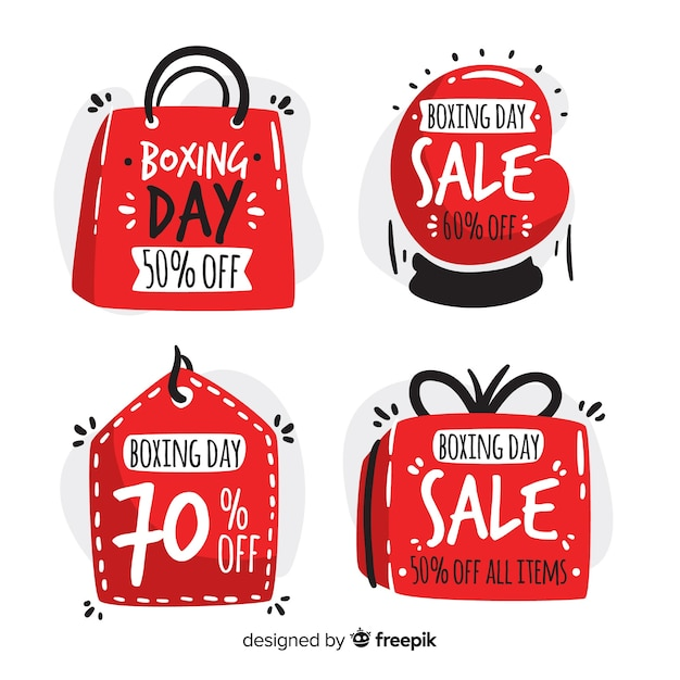 Shapes boxing day sale badge collection Free Vector