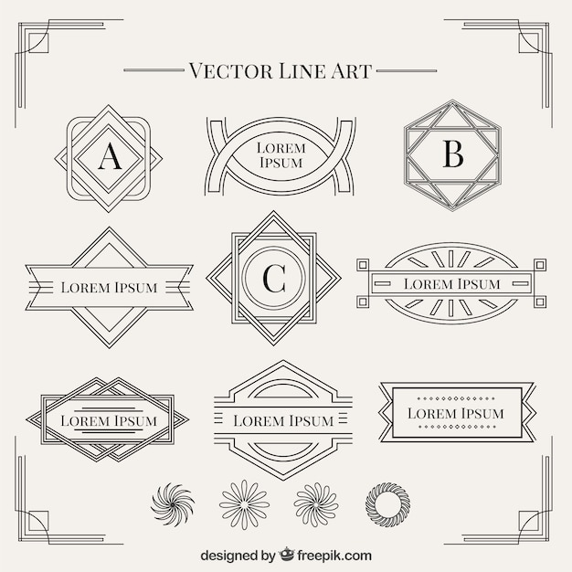 Art Deco Line Design : Shapes in art deco style collection vector free download