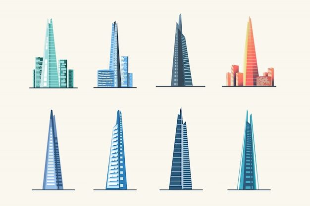 The shard london city skyline and architecture Premium Vector