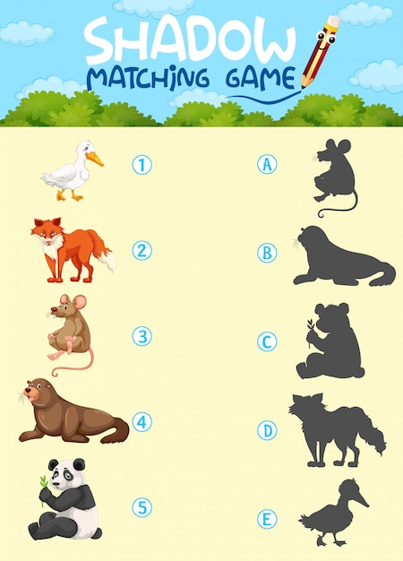 Shardow matching game template Free Vector