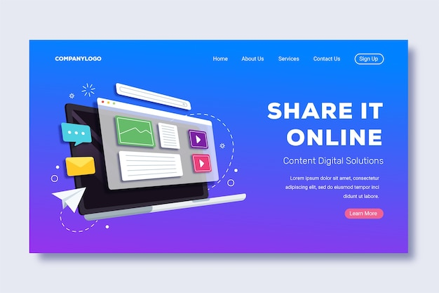 Share it online laptop landing page Free Vector