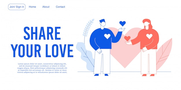 Share love relationship development landing page Premium Vector