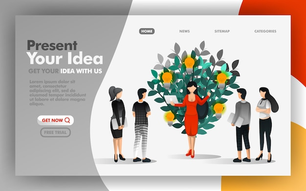 Share, present and show your ideas to everyone Premium Vector