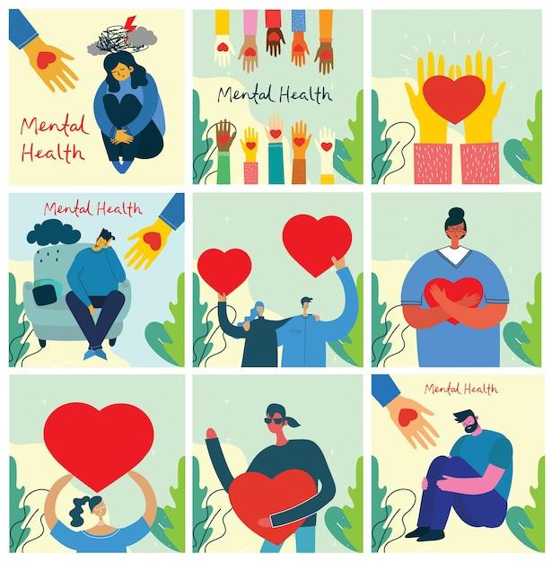 Поделись своей любовью. руки и люди с сердцем как любовные массажи. Premium векторы