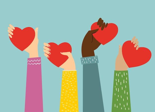 당신의 사랑을 공유하십시오. 사랑 마사지와 같은 마음으로 손. 프리미엄 벡터