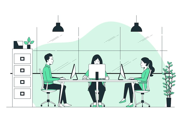 Shared workspace concept illustration Free Vector