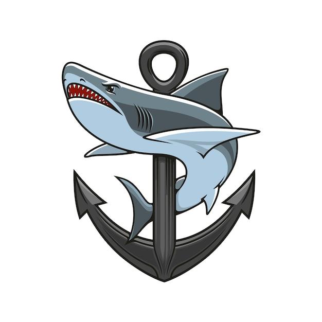 Shark and anchor heraldic logo Premium Vector