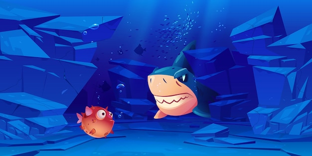 周りに岩がある海または海底のサメとフグ。 無料ベクター