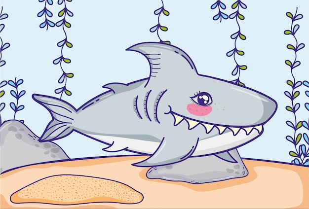 Shark animal with seaweed plants hanging Premium Vector