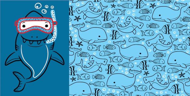 Shark cartoon with marine animals on seamless pattern Premium Vector