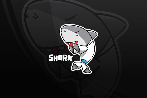 Shark esport mascot design. self defense Premium Vector