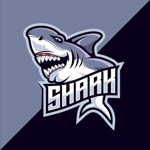 サメのeスポーツマスコットロゴ Premiumベクター