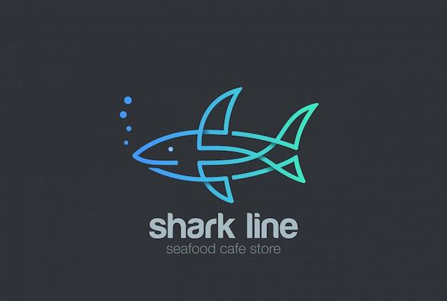 Shark logo linear style  icon. Free Vector