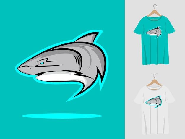 Shark logo mascot design with t-shirt . Premium Vector