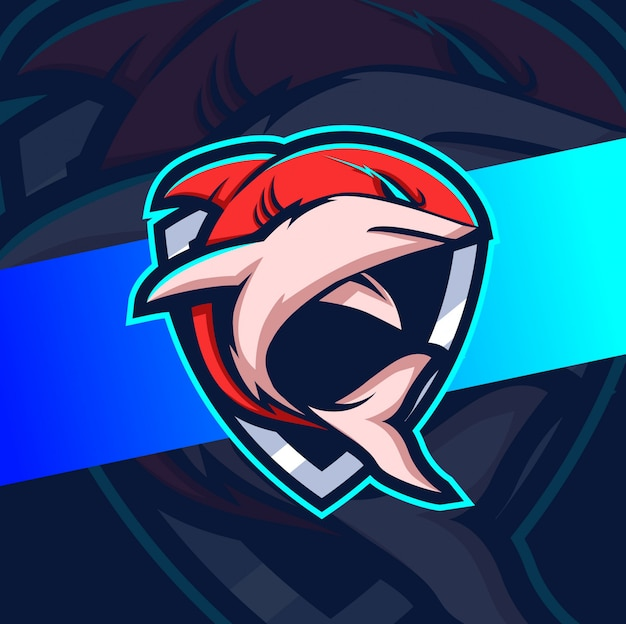 Shark mascot esport logo designs Premium Vector