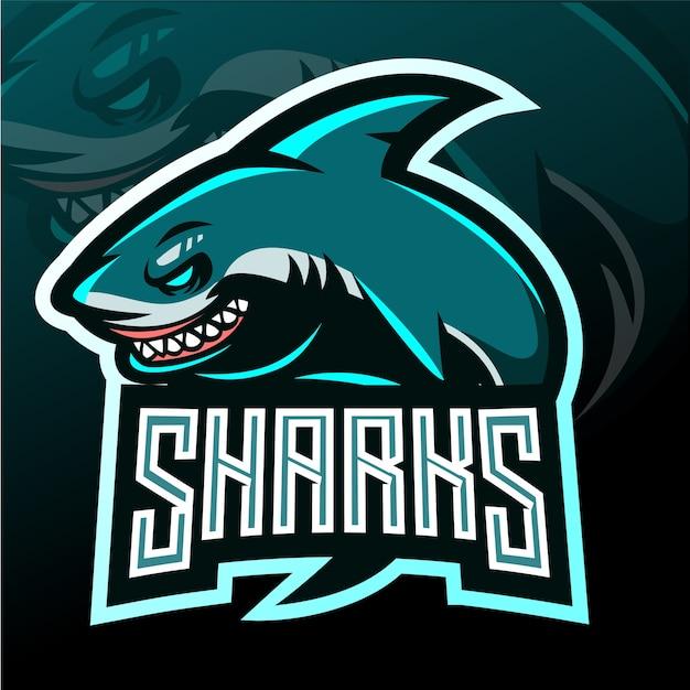 サメのマスコット。 eスポーツロゴ Premiumベクター