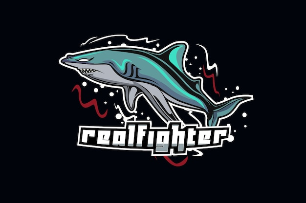Shark mascot for sports and esports logo isolated on dark background Premium Vector