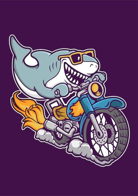 Shark riding motorcycle hand drawn illustration Premium Vector