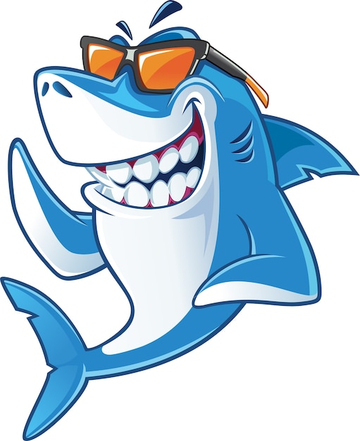 Shark with sunglasses Premium Vector