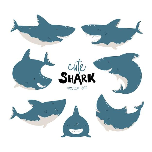 サメセット。シンプルな漫画のスカンジナビアスタイルの面白い魚のイラスト。さまざまなポーズ、感情のキャラクター。限定カラーパレットは印刷に最適です Premiumベクター