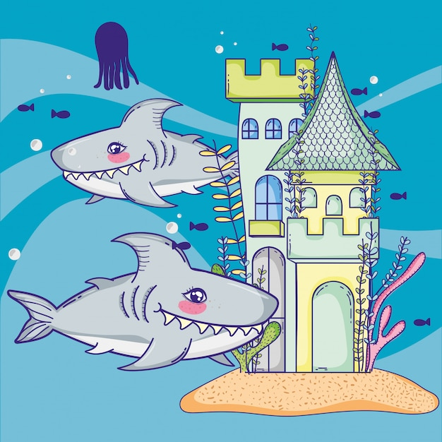 Sharks with sea animal and castle style Premium Vector