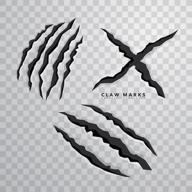 Sharp claw marks on isolated background Free Vector