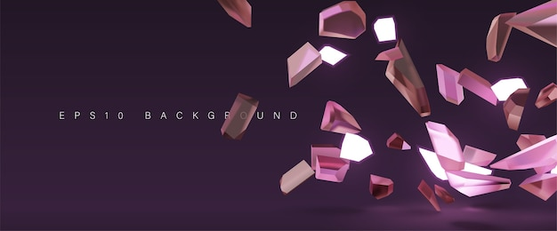 Shattered crystal glass explosion background Premium Vector