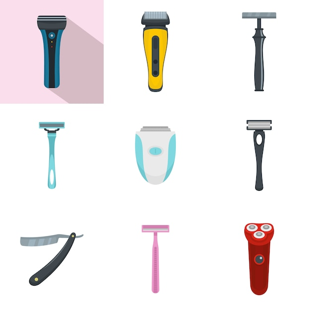Shaver blade razor personal icons set Premium Vector