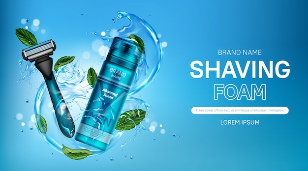 Shaving foam and safety razor blade ad banner Free Vector