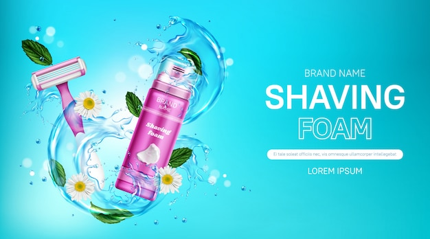 Shaving foam and safety razor blade with water splash, mint leaves and chamomile flowers. women cosmetics promo with pink bottle and shaver. Free Vector