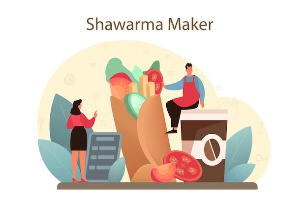 シャワルマの屋台の食べ物のコンセプト。肉、サラダ、トマトで美味しいロール料理を作るシェフ。ケバブファーストフードカフェ。 Premiumベクター