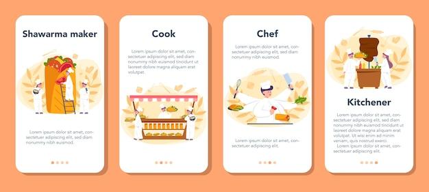 シャワルマ屋台の食べ物のモバイルアプリケーションのバナーセット。肉、サラダ、トマトで美味しいロール料理を作るシェフ。ケバブファーストフードカフェ。漫画スタイルのベクトルイラスト Premiumベクター