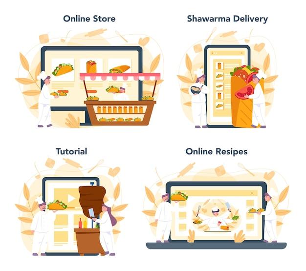 シャワルマの屋台の食べ物のオンラインサービスまたはプラットフォームセット。ケバブファーストフードカフェ。オンラインショップ、配達、レシピまたはビデオチュートリアル。漫画スタイルのベクトルイラスト Premiumベクター