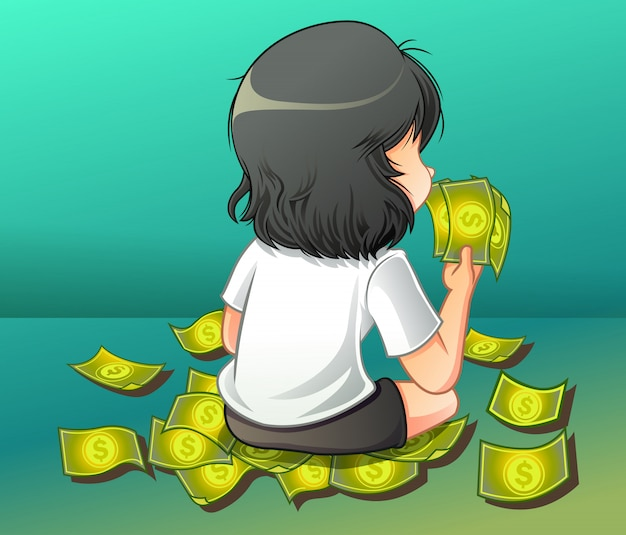 She is carrying a cash. Premium Vector