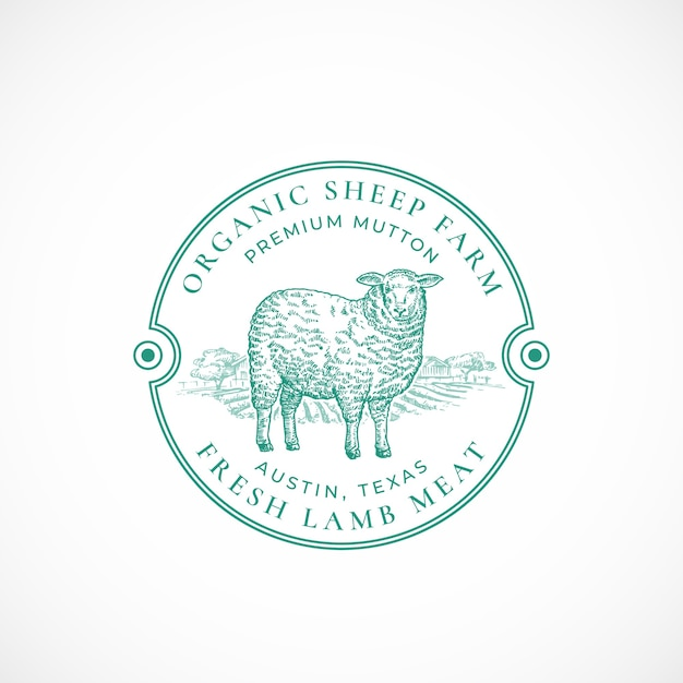 Sheep farm framed retro badge or logo Free Vector